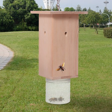 Costway Carpenter Bee Trap Catcher Pine Wood Plastic Jar Hanger