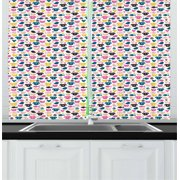 Animal Curtains 2 Panels Set, Cheerful Domestic Pets Colorful Pattern Cat Dog Fish Bird and Mouse Faces Hearts, Window Drapes for Living Room Bedroom, 55W X 39L Inches, Multicolor, by Ambesonne