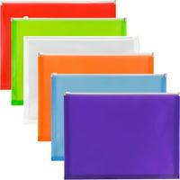 JAM Plastic Zip Envelopes, 9.8 x 13, Assorted, 6/Pack