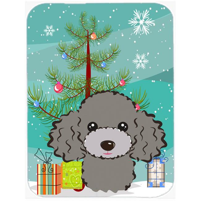 Christmas Tree And White Poodle Mouse Pad, Hot Pad & Trivet