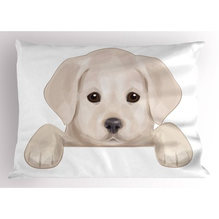 Dog Pillowcase (Baby Pillow Sham Cute Puppy Hiding with its Little Adorable Paws Labrador Dog Illustration, Decorative Standard Size Printed Pillowcase, 26 X 20 Inches, Tan Brwon Dark Taupe, by Ambesonne)