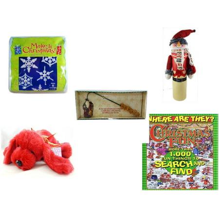 Christmas Fun Gift Bundle [5 Piece] - Make It .  Ornament Kit - Wine Gift Box Snowman - Debbie Mumm Button Santa Candle Snuffer -  Pals Soft & Cuddly Red  Dog  10