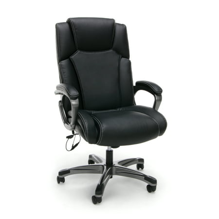OFM Essentials Collection Heated Shiatsu Massage Bonded Leather Executive Chair, in Black (ESS-6035M)