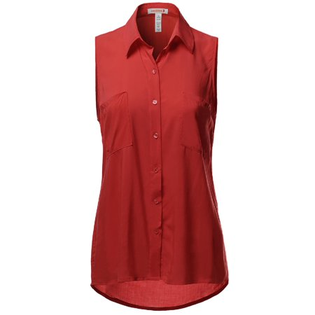 FashionOutfit Women's Slim Fit Solid Sleeveless Button Shirt Blouses