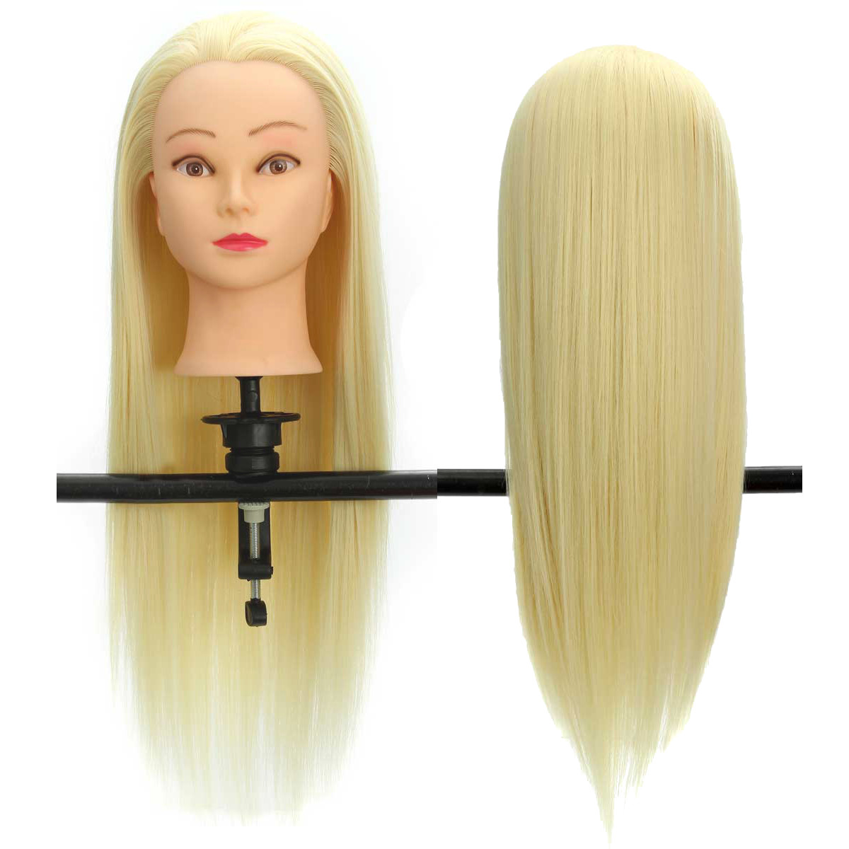 "22"" 30% Real Hair Hairdressing Training Practice Head With Hair Salon Mannequin +Clamp"