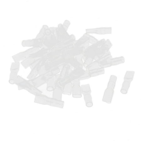 - 50 Pcs Clear 4.8mm Daul Female PVC Crimp Terminal End Insulated Cover Sleeves