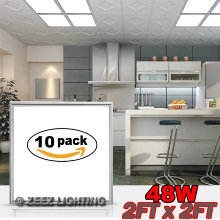 ZEEZ Lighting - 2FT x 2FT 48W Cool White LED Troffer Panel Light Recessed Dropped Ceiling Flatpanel Fixture - 10