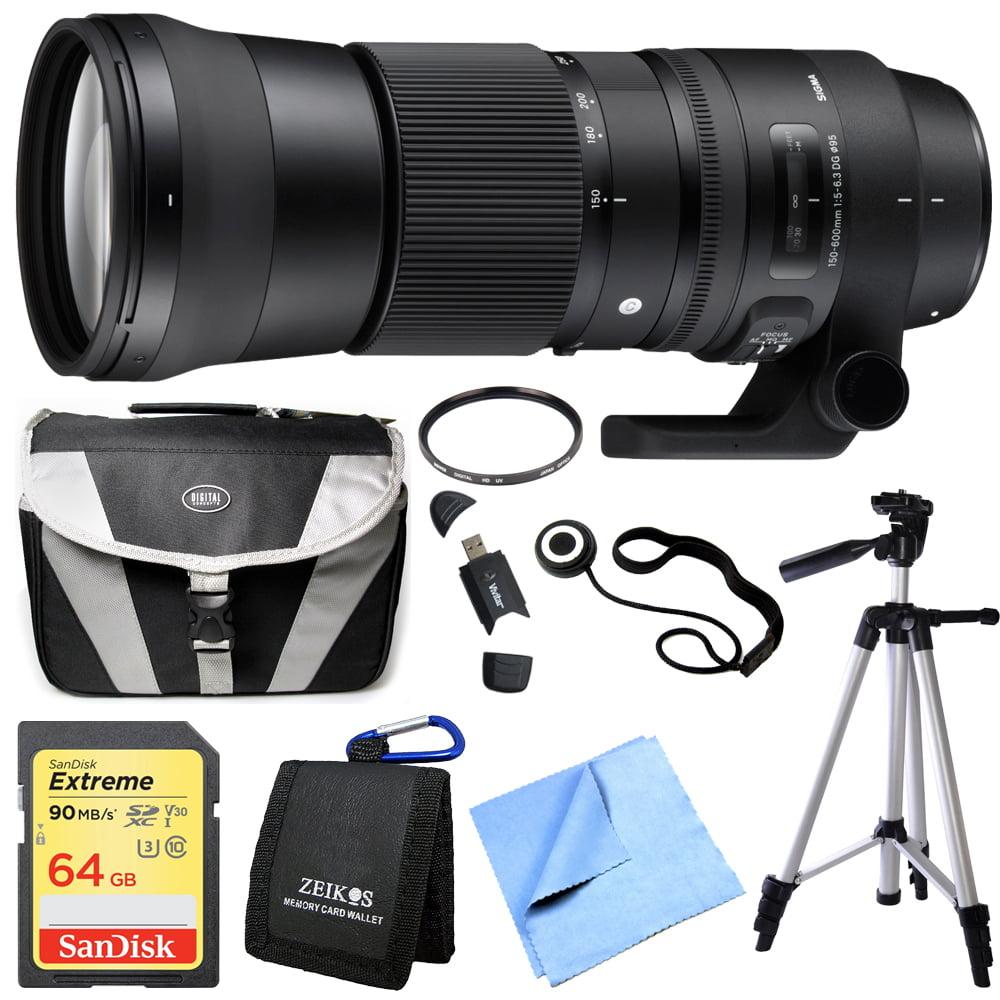 "Sigma 150-600mm F5-6.3 DG OS HSM Zoom Lens (Contemporary) for Nikon DSLR Cameras includes Bonus Xit 60"" Photo / Video Tripod and More"