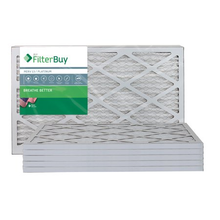 AFB Platinum MERV 13 16x25x1 Pleated AC Furnace Air Filter. Pack of 6 Filters. 100% produced in the USA.