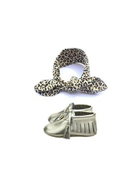 Unique Baby Baby-Girls Tassel Moccasins and Leopard Print Headband Set (X-Small, Leopard)