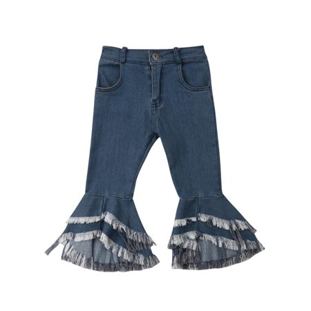 Kids Girls Denim Look Leggings Flared Button Closure Tassel Jeans Elastic Waist Denim - Kids Elastic Waist Jeans