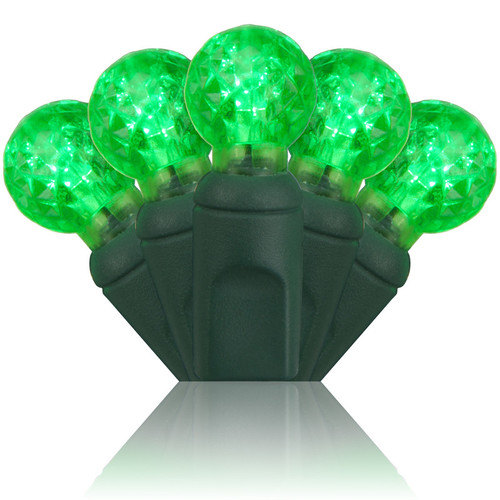 """70 Red G12 LED String Lights, Green Wire, 4"""" Spacing"""