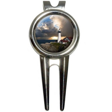 Portland Head Lighthouse Maine Sun Rays Golf Divot Repair Tool and Ball Marker