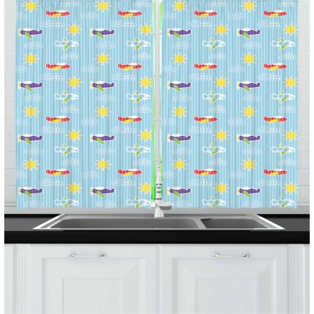 Airplane Curtains 2 Panels Set, Patchwork Style Baby Boy Kids Pattern Transportation Travel Icons on Blue Strips, Window Drapes for Living Room Bedroom, 55W X 39L Inches, Multicolor, by