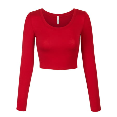 0be34965c5b KOGMO - KOGMO Womens Long Sleeve Crop Top Solid Round Neck T Shirt -  Walmart.com