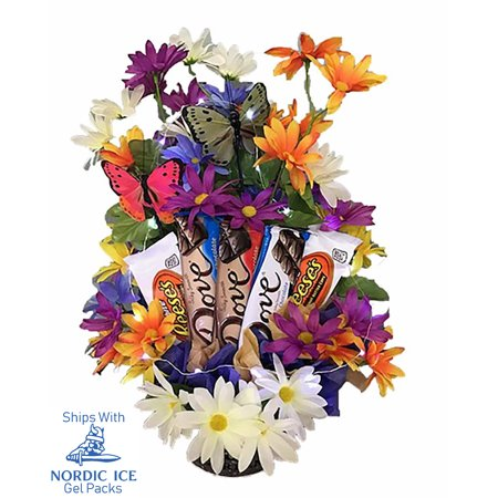 Butterfly Flowers (Chocolate Candy Bouquet with Beautiful Artificial Flowers, Butterflies, Fairy Lights and Reusable Garden Pail.)