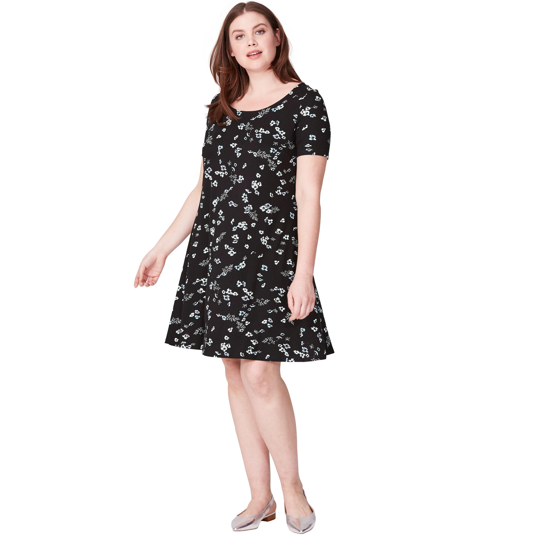 Plus Size Short Sleeve A-line Knit Dress
