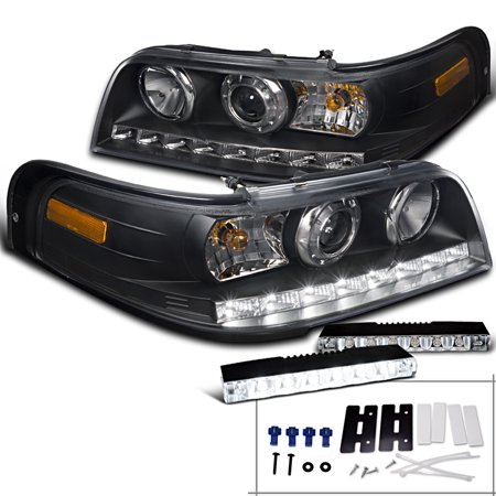 Spec D Tuning 1998 2017 Ford Crown Victoria Black Projector Headlights 6
