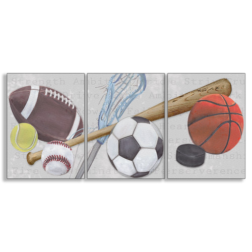 Stupell Industries The Kids Room Sports Balls Triptych Wall Plaque (Set of 3)