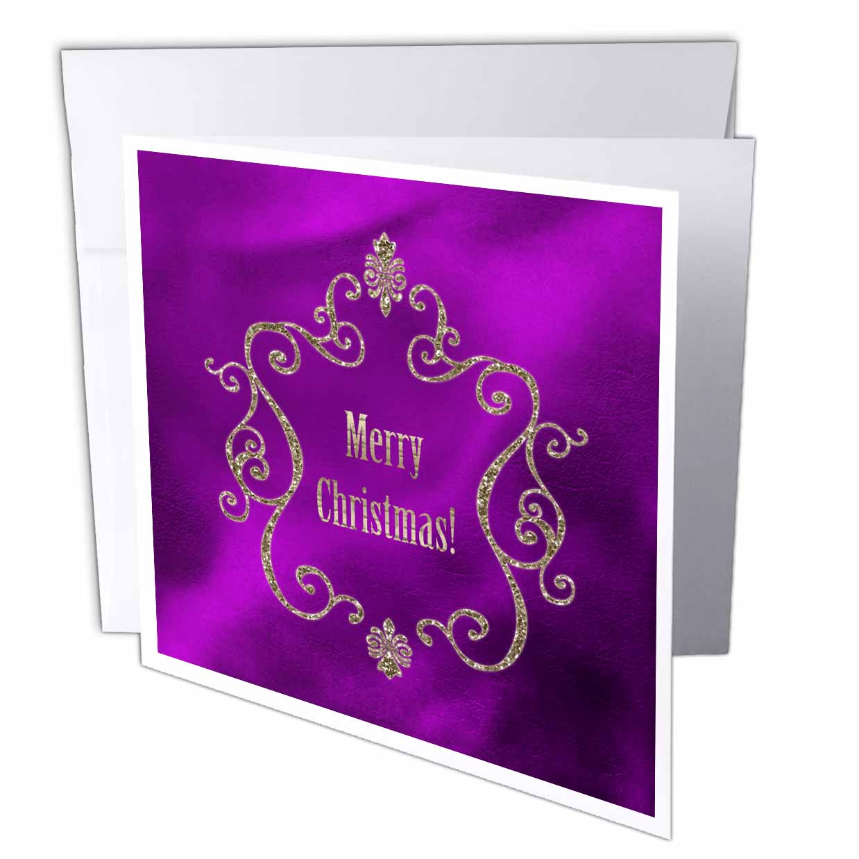 3dRose Elegant Gold Jewel Look Frame with Merry Christmas on Plum Purple, Greeting Card, 6 x 6 inches, single