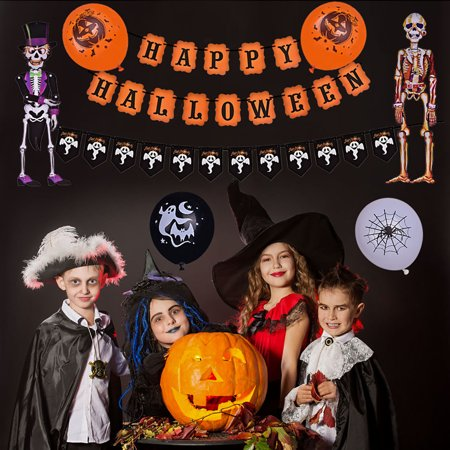 88 PCs Halloween Party Supplies Cute Fun Party Favors Decoration for Kids Theme Party Include Paper Plate, Cup, Balloon, Table Cloth, Banners and Hanging Skeleton Props F-186 - Halloween Cups And Plates