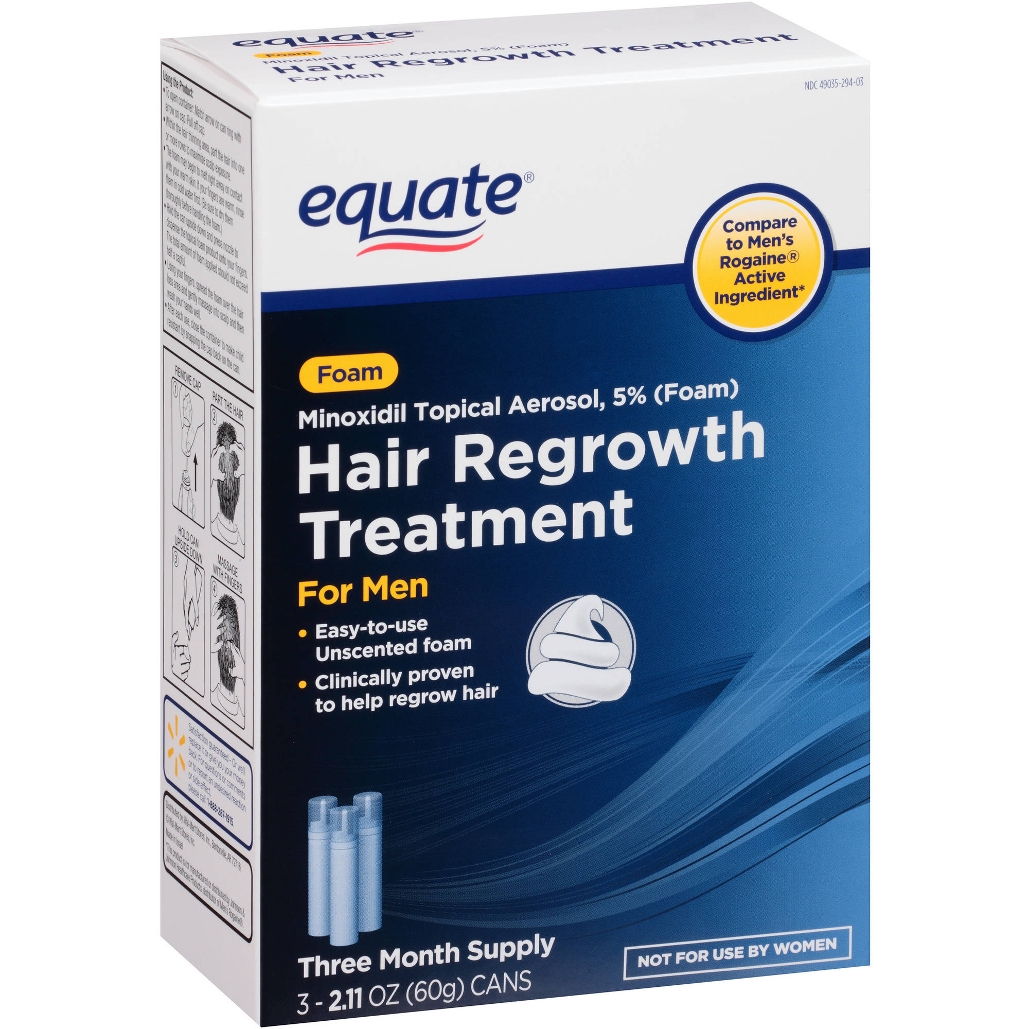 Equate Hair Regrowth Treatment for Men Minoxidil Topical Aerosol, 5% (Foam), 3 count