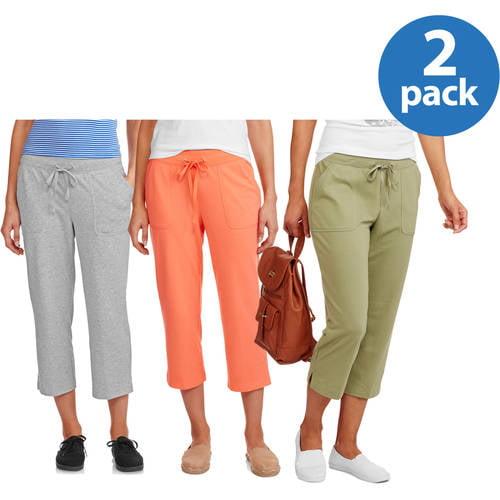 White Stag Women's Knit Pull On Capri Pant 2pk Value Bundle
