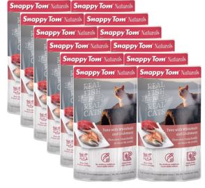 (12 Pack) Snappy Tom Naturals Tuna with Whitebait and Crabmeat Grain Free Wet Cat Food, 3.5 Oz.