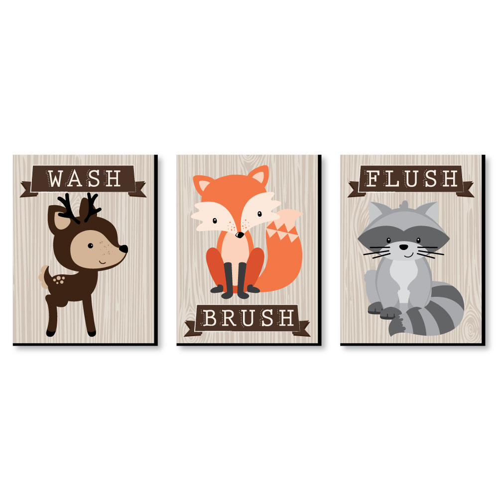 "Woodland Creatures - Kids Bathroom Rules Wall Art - 7.5"" x 10"" - Set of 3 Signs - Wash, Brush, Flush"