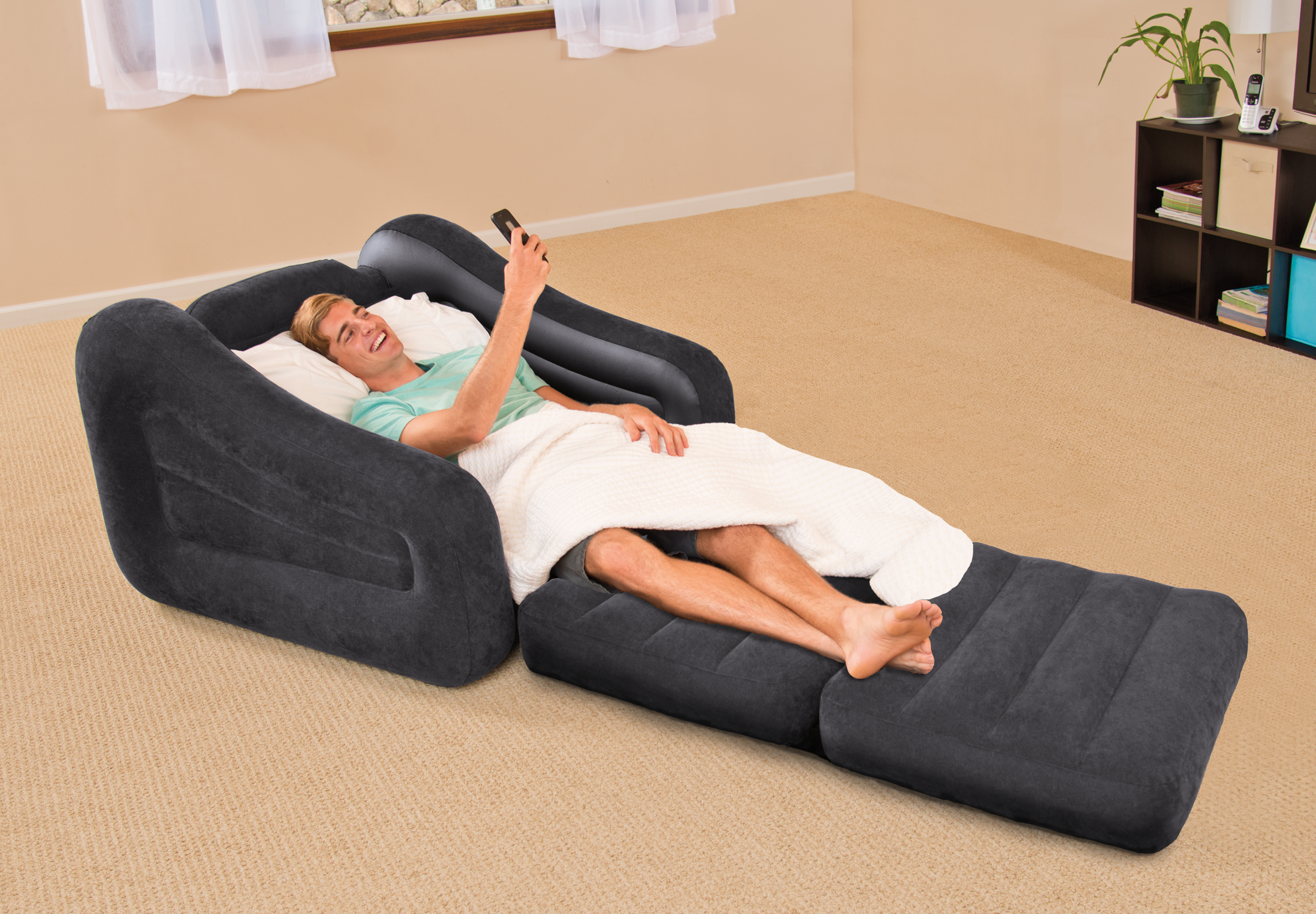 Inflatable Air Chair with Pull Out Twin Bed Mattress Sleeper Gray