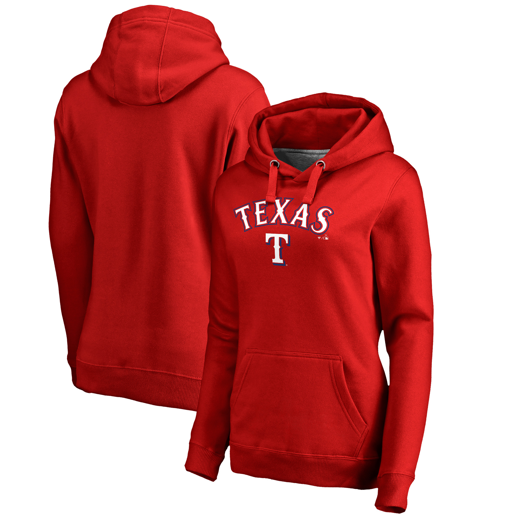 Texas Rangers Fanatics Branded Women's Plus Size Team Lockup Pullover Hoodie - Red