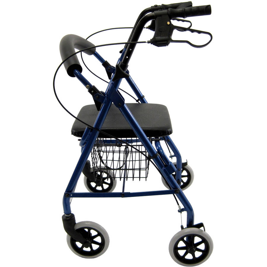 Karman R-4100 low seat hemi rollator with seat and basket, Blue