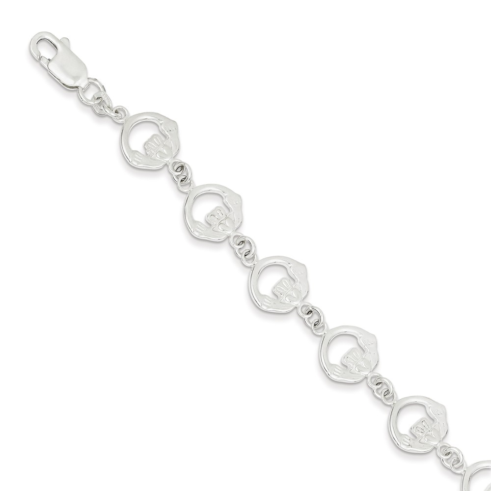 Sterling Silver 7in Claddagh Bracelet