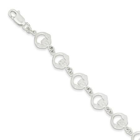 Solid 925 Sterling Silver Claddagh Bracelet 7