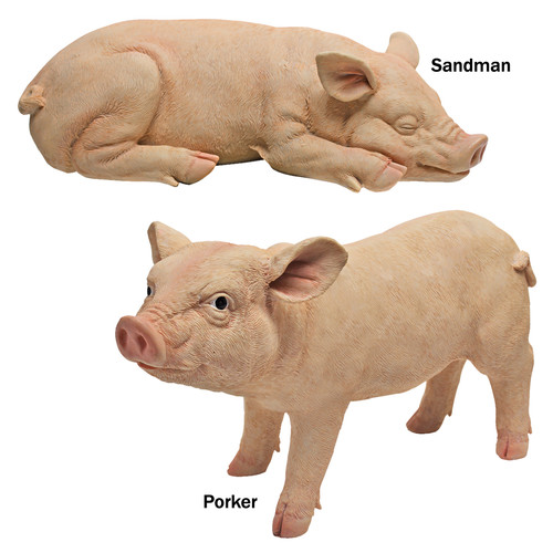 Design Toscano Piggy Garden Sandman and Porker Statue (Set of 2)