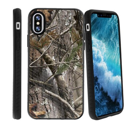 Apple iPhone X Phone Case with Grip Pattern [Slim Case for iPhone 10, for iPhone X Edition, for iPhone 10 2017] Hard Shell Hybrid Case for Apple iPhone X Phone Cover - Hunters Camo