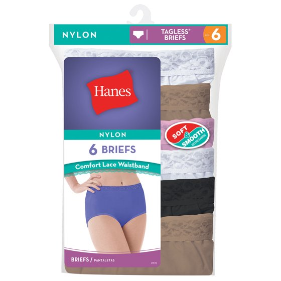 1f0fd8eb95c1 Hanes - Women's Nylon Brief Panties - 6 Pack - Walmart.com