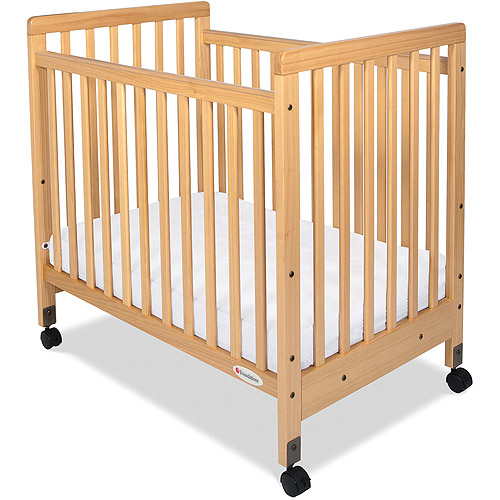 Foundations SafetyCraft Compact Slatted Fixed-Side Crib, Natural