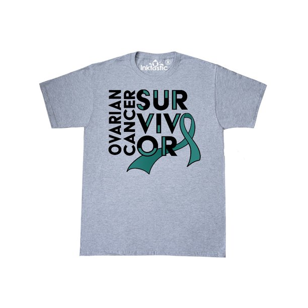 Inktastic Ovarian Cancer Survivor Teal Ribbon Awareness T Shirt Walmart Com Walmart Com