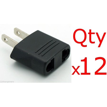 12 Pack of Black North American Plug Adapters - Changes Euro/Asia Plugs to US-Style Plug