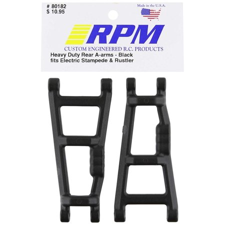 80182 Rear A-Arms Black E-Monster Jam, Rustler, Stampede Black, For use on the E-Rustler, Stampede, and Monster Jam By RPM