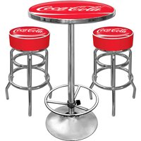 Ultimate Coca-Cola Double Ring Gameroom Combo - 2 Bar Stools and Table Set