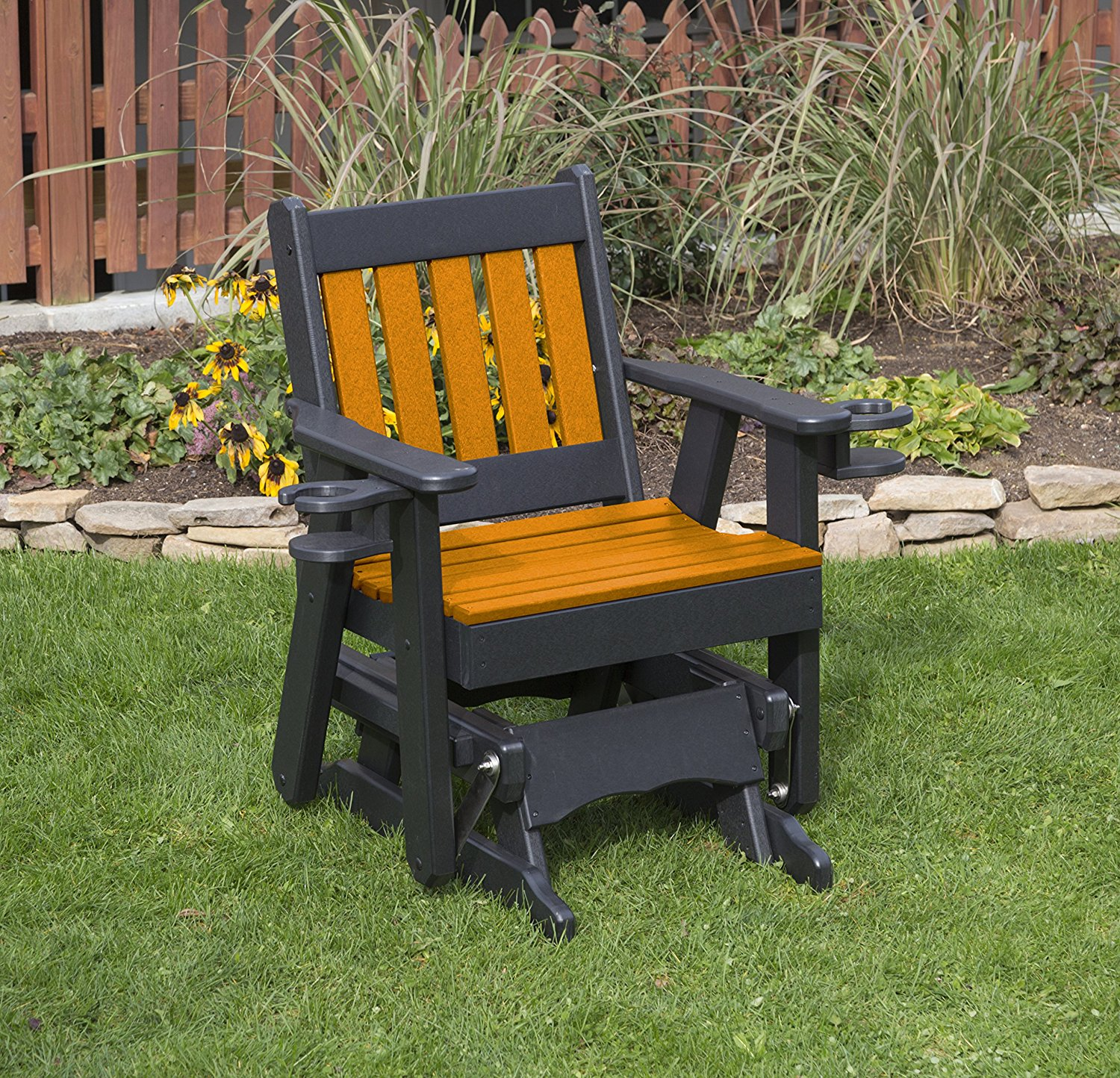 Outdoor Exterior Bright Orange Finish 2 Ft Poly Lumber Mission Everlasting Amish Crafted Traditional Glider With Cupholder Arms