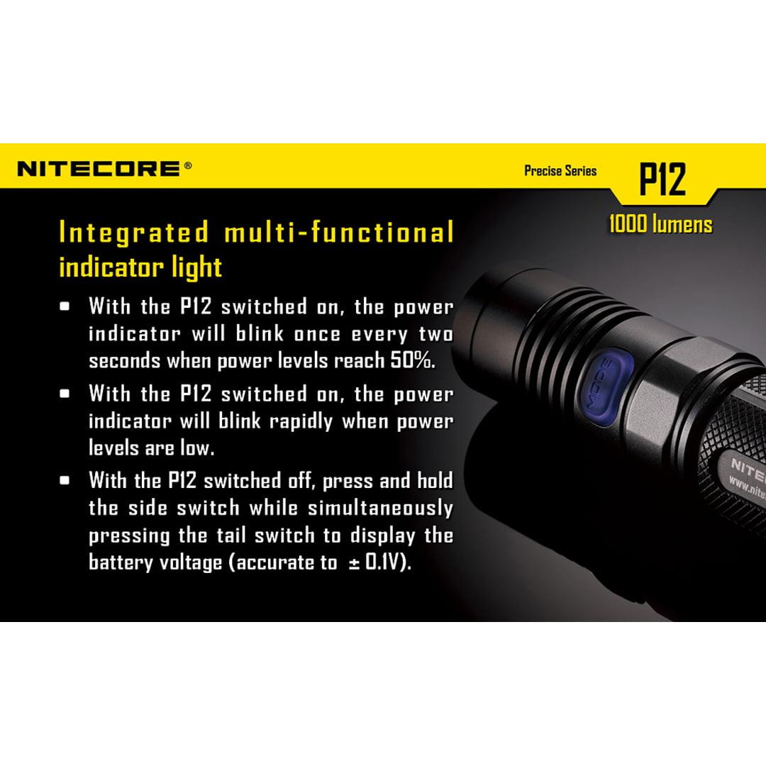 1000 Lumens Compact LED Flashlight w// 3400mAh Recharge Kit Nitecore P12 2015 Ed