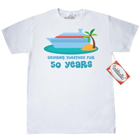 Inktastic 50th Anniversary Cruise Ship T-Shirt 10th Wedding Cruising Together 50 Years Married Anniversaries Occasions Year Golden Celebrations Mens Adult Clothing Apparel Tees T-shirts Hws - 50 Clothes