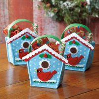 Birdhouse Holiday Treat Bags- Felt Christmas Goodie bags (Set of 6)