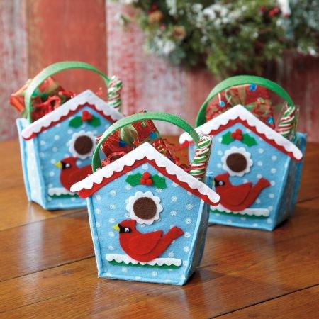 Birdhouse Holiday Treat Bags Felt Christmas Goodie Bags Set Of 6 Walmart Com Walmart Com