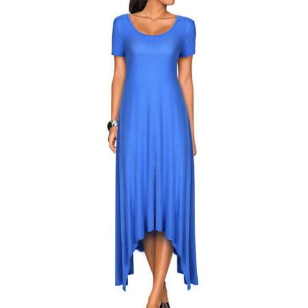 Women S Loose Casual Asymmetrical Short Sleevehandkerchief