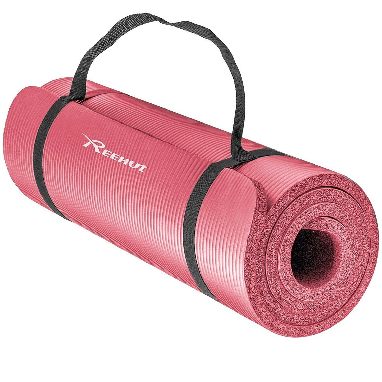 REEHUT Exercise Mat NBR Fitness Yoga Mat 1/2-Inch Extra Thick High Density NBR Mat for Pilates, Fitness & Workout with Carry Strap - Blue