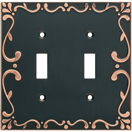 Franklin Brass Classic Lace Double Switch Wall Plate in Bronze with Copper Highlights